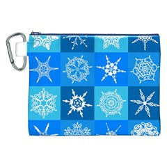 Seamless Blue Snowflake Pattern Canvas Cosmetic Bag (xxl)