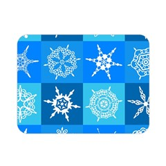 Seamless Blue Snowflake Pattern Double Sided Flano Blanket (Mini)