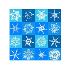 Seamless Blue Snowflake Pattern Small Satin Scarf (Square)