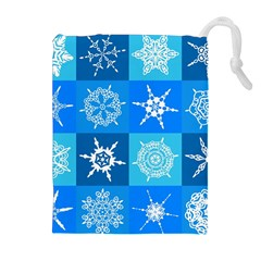 Seamless Blue Snowflake Pattern Drawstring Pouches (Extra Large)