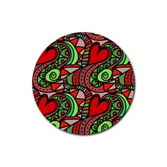 Seamless Tile Background Abstract Rubber Round Coaster (4 pack)