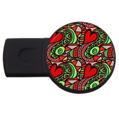 Seamless Tile Background Abstract USB Flash Drive Round (1 GB)