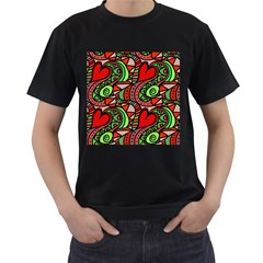 Seamless Tile Background Abstract Men s T-Shirt (Black) (Two Sided)