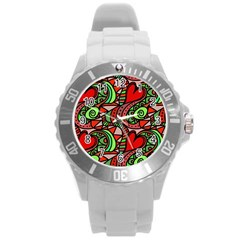 Seamless Tile Background Abstract Round Plastic Sport Watch (L)