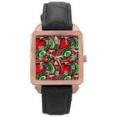 Seamless Tile Background Abstract Rose Gold Leather Watch