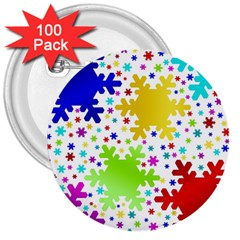 Seamless Snowflake Pattern 3  Buttons (100 pack)