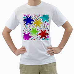 Seamless Snowflake Pattern Men s T-Shirt (White) (Two Sided)