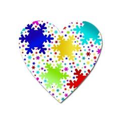 Seamless Snowflake Pattern Heart Magnet