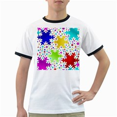 Seamless Snowflake Pattern Ringer T-Shirts