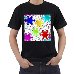 Seamless Snowflake Pattern Men s T Shirt (black) (two Sided)