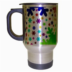 Seamless Snowflake Pattern Travel Mug (Silver Gray)