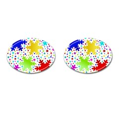 Seamless Snowflake Pattern Cufflinks (oval)