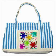 Seamless Snowflake Pattern Striped Blue Tote Bag