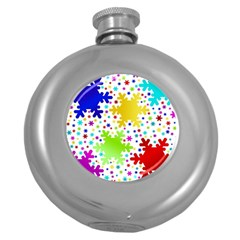 Seamless Snowflake Pattern Round Hip Flask (5 Oz)