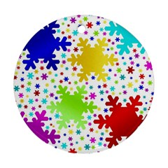 Seamless Snowflake Pattern Round Ornament (Two Sides)