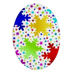 Seamless Snowflake Pattern Oval Ornament (two Sides)