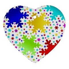 Seamless Snowflake Pattern Heart Ornament (two Sides)