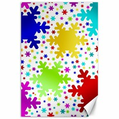 Seamless Snowflake Pattern Canvas 24  x 36