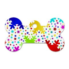 Seamless Snowflake Pattern Dog Tag Bone (two Sides)
