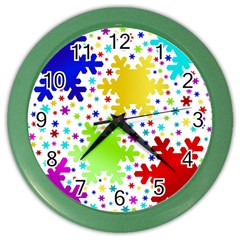 Seamless Snowflake Pattern Color Wall Clocks
