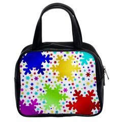 Seamless Snowflake Pattern Classic Handbags (2 Sides)