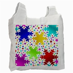 Seamless Snowflake Pattern Recycle Bag (One Side)
