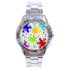 Seamless Snowflake Pattern Stainless Steel Analogue Watch