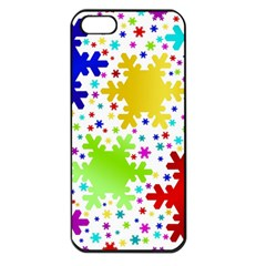 Seamless Snowflake Pattern Apple Iphone 5 Seamless Case (black)
