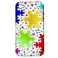 Seamless Snowflake Pattern Apple Iphone 4/4s Hardshell Case (pc+silicone)