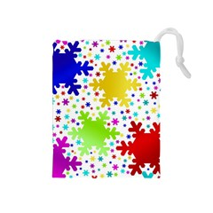 Seamless Snowflake Pattern Drawstring Pouches (medium)
