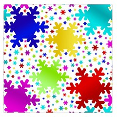 Seamless Snowflake Pattern Large Satin Scarf (Square)