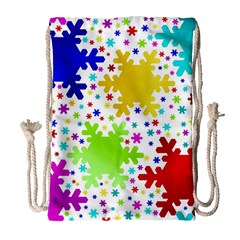 Seamless Snowflake Pattern Drawstring Bag (Large)