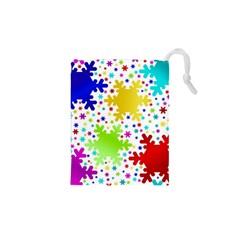 Seamless Snowflake Pattern Drawstring Pouches (xs)