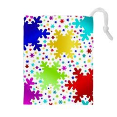 Seamless Snowflake Pattern Drawstring Pouches (extra Large)
