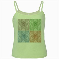 Seamless Kaleidoscope Patterns In Different Colors Based On Real Knitting Pattern Green Spaghetti Tank