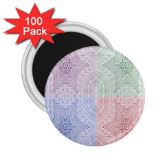Seamless Kaleidoscope Patterns In Different Colors Based On Real Knitting Pattern 2 25  Magnets (100 Pack)