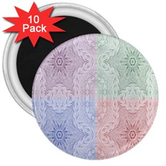 Seamless Kaleidoscope Patterns In Different Colors Based On Real Knitting Pattern 3  Magnets (10 pack)