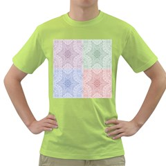 Seamless Kaleidoscope Patterns In Different Colors Based On Real Knitting Pattern Green T-Shirt