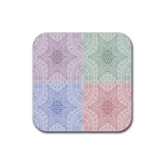Seamless Kaleidoscope Patterns In Different Colors Based On Real Knitting Pattern Rubber Square Coaster (4 pack)