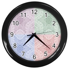 Seamless Kaleidoscope Patterns In Different Colors Based On Real Knitting Pattern Wall Clocks (Black)