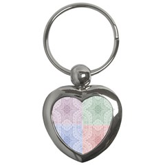 Seamless Kaleidoscope Patterns In Different Colors Based On Real Knitting Pattern Key Chains (Heart)