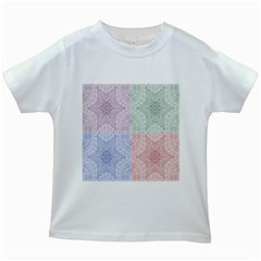 Seamless Kaleidoscope Patterns In Different Colors Based On Real Knitting Pattern Kids White T Shirts