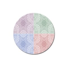 Seamless Kaleidoscope Patterns In Different Colors Based On Real Knitting Pattern Magnet 3  (Round)