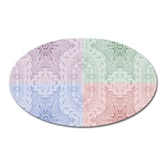 Seamless Kaleidoscope Patterns In Different Colors Based On Real Knitting Pattern Oval Magnet