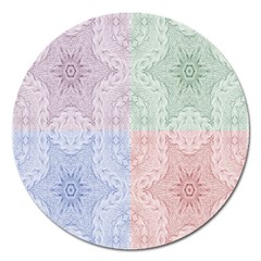 Seamless Kaleidoscope Patterns In Different Colors Based On Real Knitting Pattern Magnet 5  (Round)