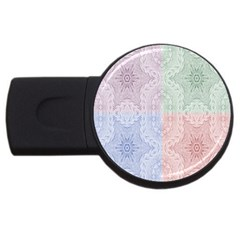 Seamless Kaleidoscope Patterns In Different Colors Based On Real Knitting Pattern USB Flash Drive Round (2 GB)