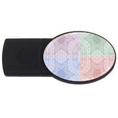 Seamless Kaleidoscope Patterns In Different Colors Based On Real Knitting Pattern USB Flash Drive Oval (2 GB)