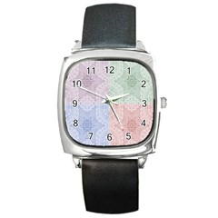 Seamless Kaleidoscope Patterns In Different Colors Based On Real Knitting Pattern Square Metal Watch