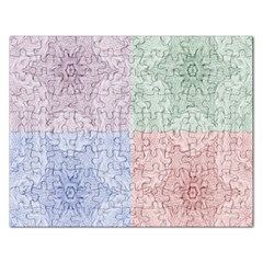 Seamless Kaleidoscope Patterns In Different Colors Based On Real Knitting Pattern Rectangular Jigsaw Puzzl