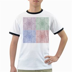 Seamless Kaleidoscope Patterns In Different Colors Based On Real Knitting Pattern Ringer T-Shirts
